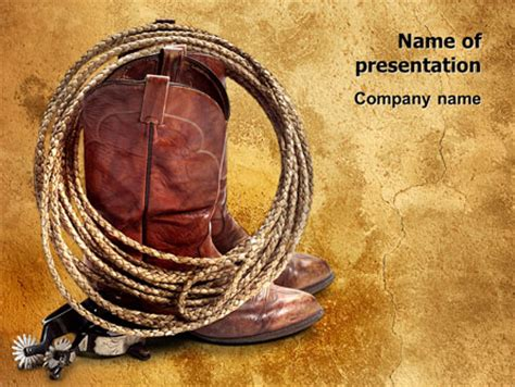 Cowboy Theme Powerpoint Template Backgrounds 11056 Poweredtemplate Com Western Powerpoint Template