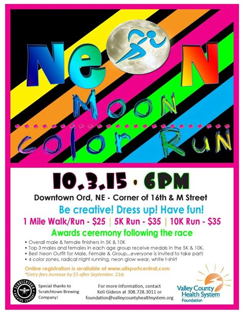 Neon Moon Run Color Run Scratchtown Color Run Flyer Template