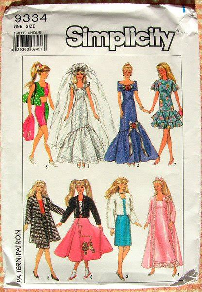 80 s fashion doll fashion doll clothes 80 s sewing pattern simplicity 9334