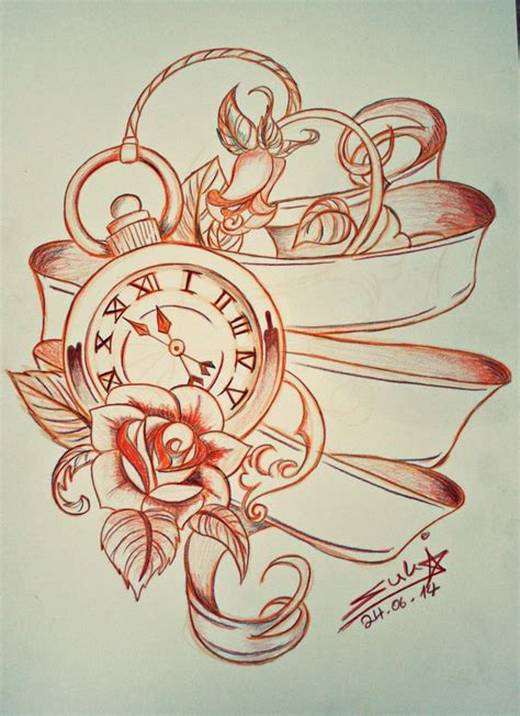 pocket watch and rose tattoo design 7 pocket design ideas
