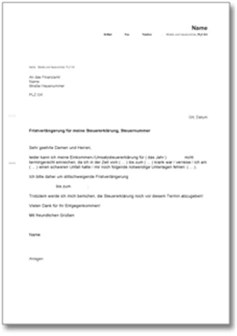 antrag an das finanzamt auf fristverl 228 ngerung f 252 r die steuererkl 228 rung de musterbrief
