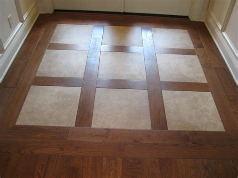 Porcelain Inlays In Hardwood Entryway Flooring Ideas