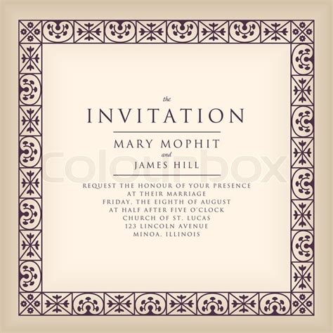 Hochzeitseinladung Englisch by Einladung Mit Rahmens Im Renaissance Stil Vorlage Rahmen