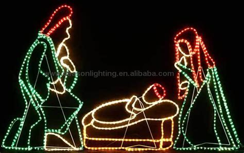 christmas rope light motif nativity scene joseph mary and