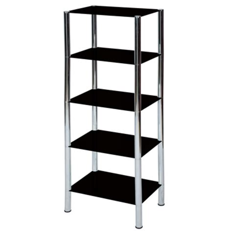 levv 5 tier black glass shelving unit with chrome legs ebay