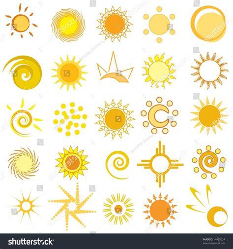set abstract sun designs stock illustration 14955034