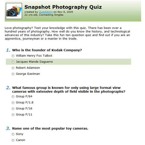 quiz questions with options top 5 websites for online photography quiz options