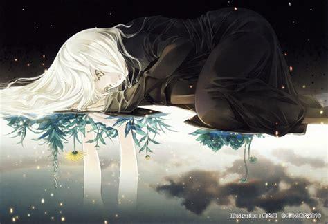 wallpaper anime girl alone anime girl flower alone wallpaper 3447x2363 547524