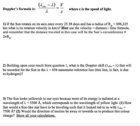 what is lambda in physics doppler s formula is lambda obs lambda lambda chegg