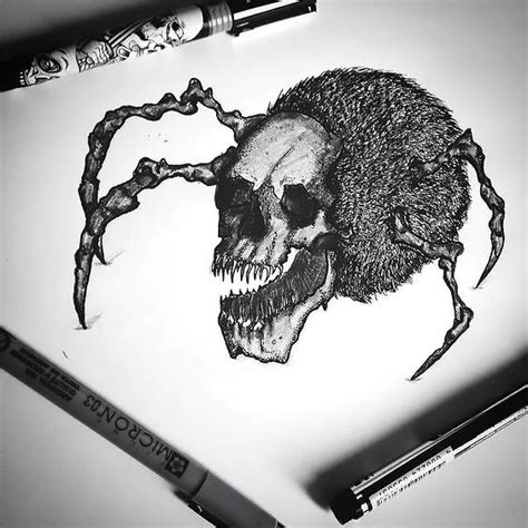 crazy spider skull tattoo design