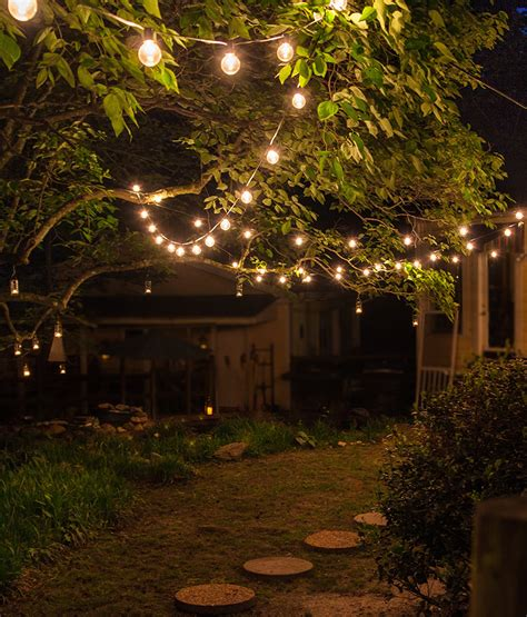 outdoor lighting ideas for backyard patio string lights and bulbs