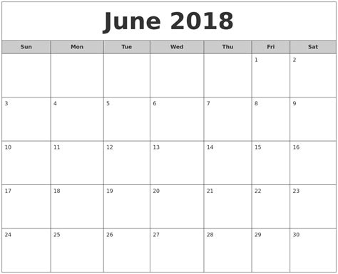2018 monthly calendar template word june 2018 calendar word printable 2017 calendars