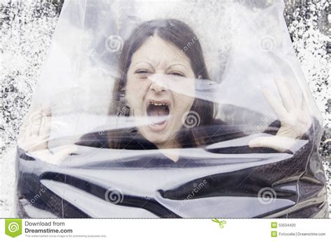 Model Suffers From Of Bag Abuse by In Plastic Bag Stock Photo Image 53534420