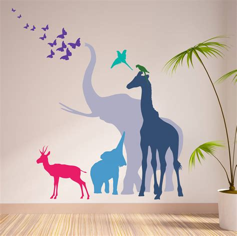 animal stickers for walls seven safari animal wall stickers new sizes by the bright