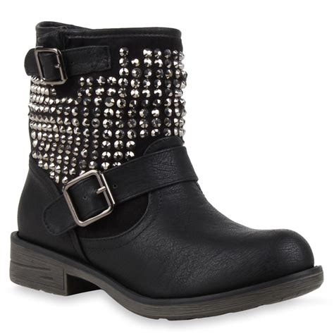 cool biker boots coole damen biker boots nieten stiefeletten stiefel schuhe