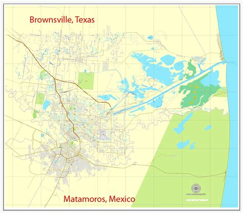 map of brownsville texas brownsville texas us matamoros mexico printable vector city plan map
