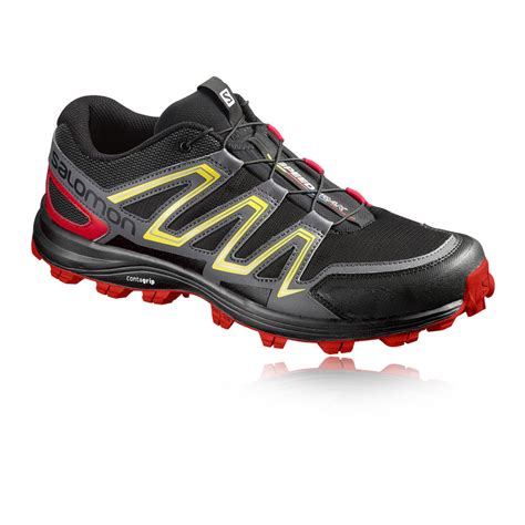 water resistant trail running shoes salomon speedtrak mens black water resistant trail running