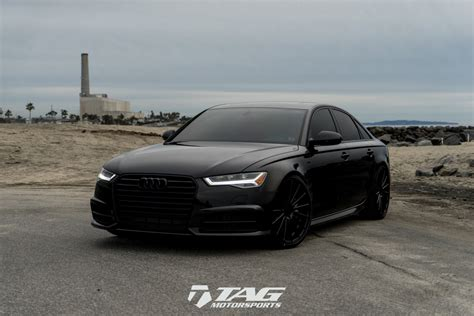 murdered out audi a4 simple clean slammed 2017 a6 2 0t on 21 quot vossen vfs2