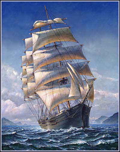 boat canvas kingston wa four masted barque painting by john stephens tall ship
