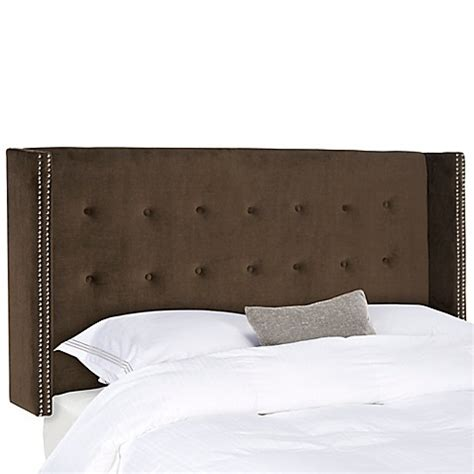 tufted winged headboard safavieh keegan velvet tufted winged headboard bed bath