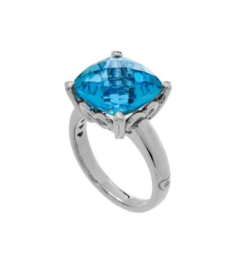 cushion cut 8 10ct blue topaz ring sterling silver amoro