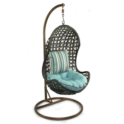 swinging chair for bedroom half egg bedroom swing chair with blue cushion