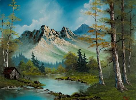 bob ross paintings auction bob ross mountain cabin painting bob ross mountain cabin