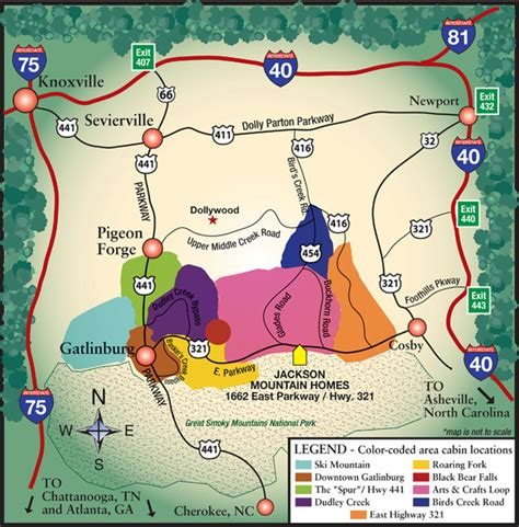 gatlinburg map area selection page