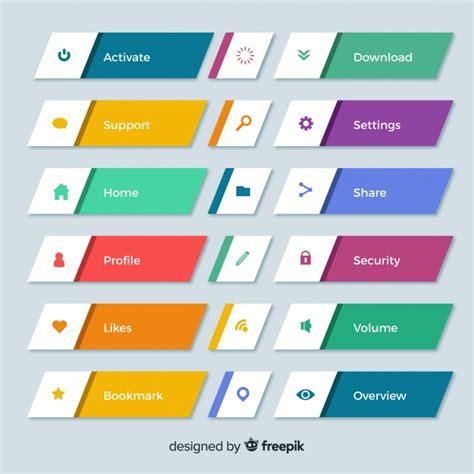 colorful web design button collection  flat design