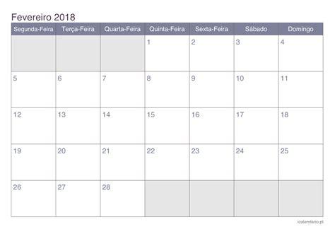 Calendã Fevereiro 2018 Calend 225 Fevereiro 2018 Para Imprimir Icalend 225 Pt