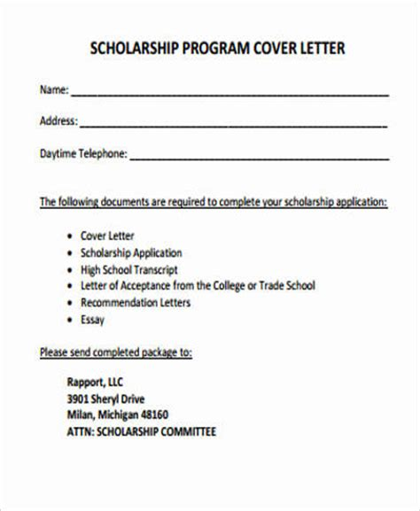 scholarship application cover letter cover letter for scholarship 5 exles in word pdf
