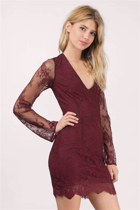 Id Lace Dress wine bodycon dress dress scallop dress 39 00