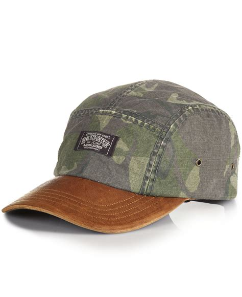Rugged Leather Polo Ralph Lauren Oilcloth Camp Hat In Brown For Men Lyst