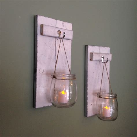 decoration frames pictures candle holders candles wooden candle holder mason jar wall sconce rustic by covedecor
