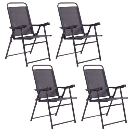 costway set   folding sling chairs patio furniture camping pool beach  armrest walmartcom