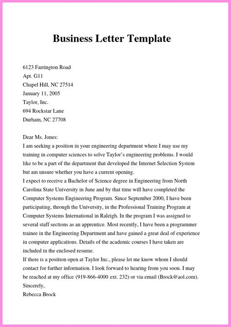 business letter template word format