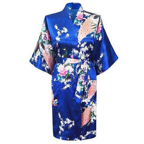 flower pattern robe high fashion blue chinese women s satin robe gown vintage