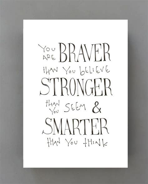 Poster Quote Winnie The Pooh winnie the pooh quote print you are braver than you