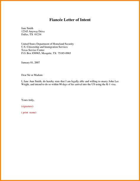 Letter Of Intent K1 Visa Intent To Letter Best Business Template