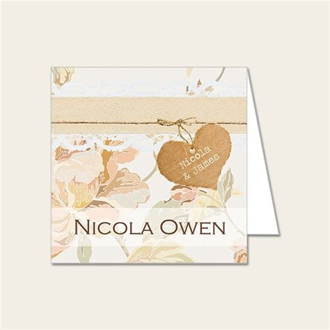 wedding place cards shabby chic flowers