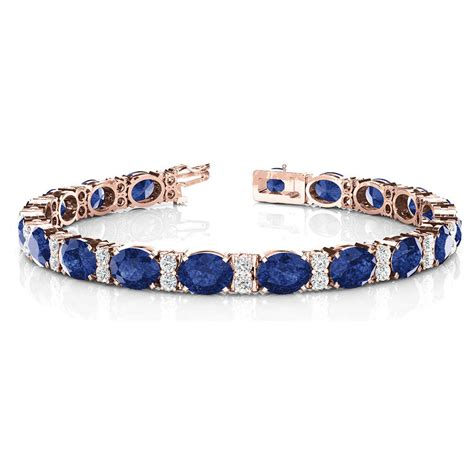 Oval Brecelet oval sapphire with diamonds bracelet in 14k gold