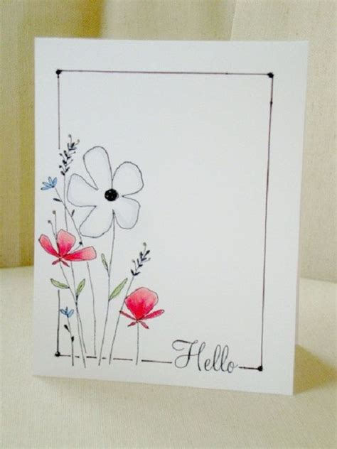 Easy Handmade Card - items similar to floral hello greeting card on etsy