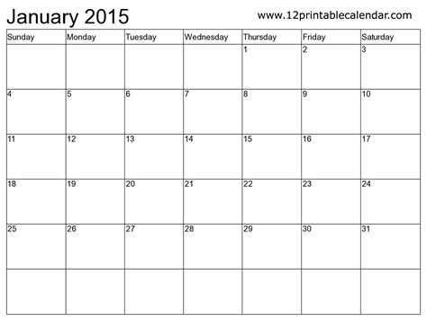 January 2015 Calendar Printable Printable Monthly Calendars 2015 Bio Exle