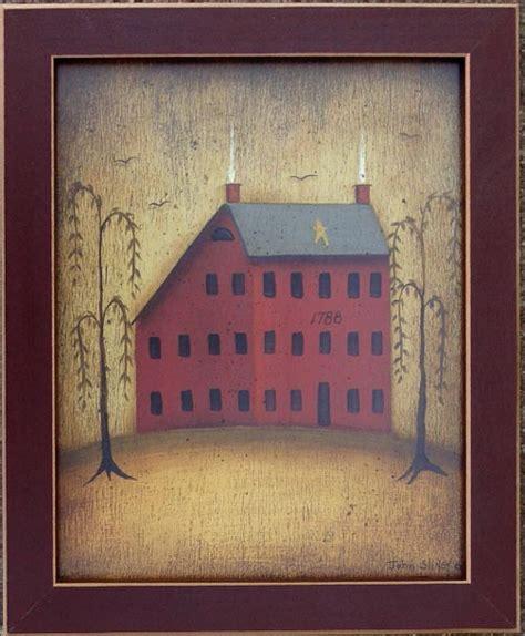 house prints salt box house willow tree primitive folk by john sliney
