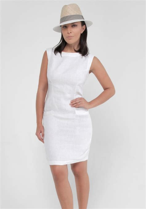 Black Ethnic Dress Size M L 8336 100 linen fitted dress with pockets in white shop