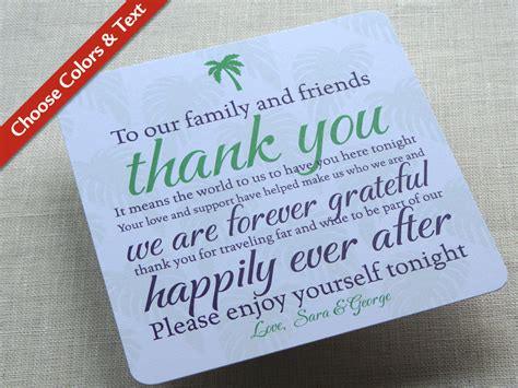 thank you for our wedding gift cards palm tree wedding reception thank you card destination