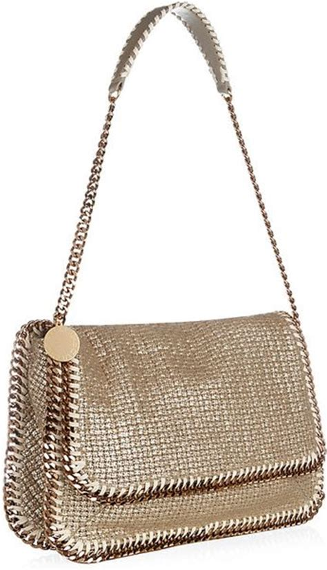 Stella Mccartney Patent Effect Messenger Bag by Stella Mccartney Falabella Boucle Messenger Bag In Gold Lyst