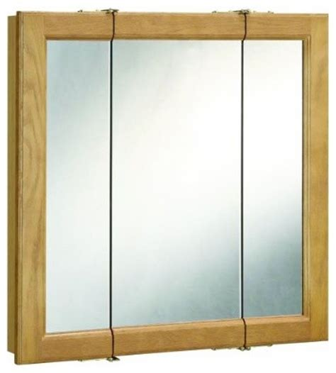 richland nutmeg oak tri view medicine cabinet mirror with
