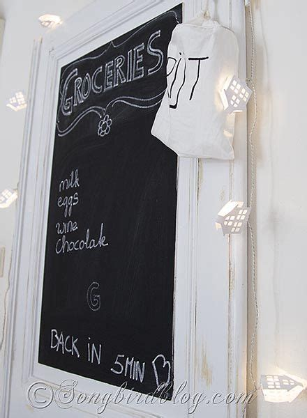 vintage door chalkboard organisation in the kitchen