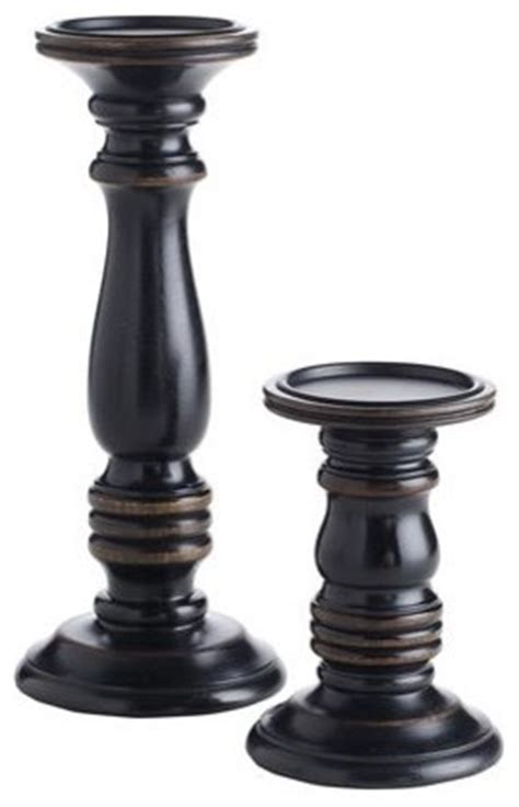 Black Wood Candle Holders Black Wooden Pillar Holders Traditional Candleholders